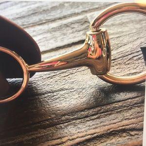 AC Snaffle Bit w Gold Hardware In Brown Belt NWT